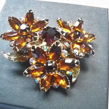Vintage Brooch Rhinestone Flowers Topaz Brown Rhinestones 3 D Dimensional Multi Shaped Stones Statement Brooch Mid Century
