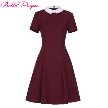 Belle Poque Women Elegant Stand Rockabilly Pin Up Plus Size Short Sleeve Career Zipper Pencil Vintage Midi Bodycon Dress Winter
