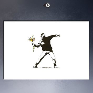 Free shipment  Banksy Flower Chucker Art Picture Paint on Canvas Prints
