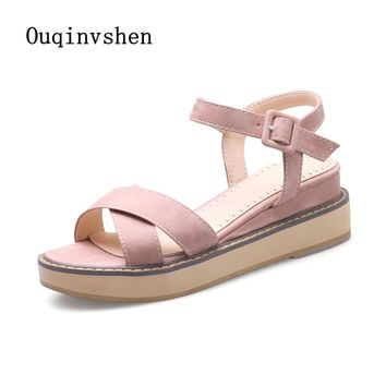 OUQINVSHEN Buckle Gladiator Sandals Women 2017 New Platform Sandals Casual Fashion Ladies Sandals Flat With Large Size Sandal