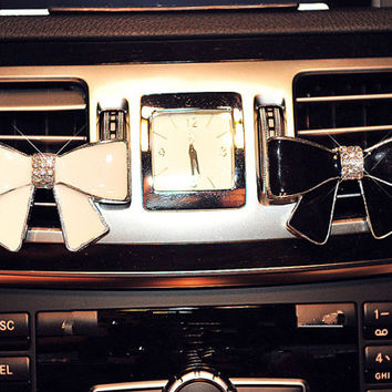 Crystal Alloy Bow Car Accessories Vent Clip for Women Car Decal