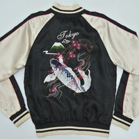 Sukajan Jacket Women Small Sukajan Jumper Carp Koi Fish Embroidery Japan Souvenir Jacket Supremacy of Japan Bomber Jacket Women's Size S