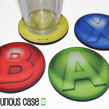 Video Game Controller Button Round Coaster Set of 4 with Storage Gift Tin
