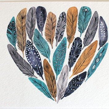 Feather Heart Painting - Watercolor Art - Archival Print - Paloma's Heart