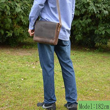 Vintage Crazy horse leather shoulder bag men's thick leather messenger bag for go out or go to work Cowhide school bag