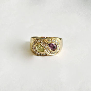 Wide Sterling Silver, Vermeil Finish Ring with Faux Citrine and Amethyst Teardrop Shaped Stones Encircled by Clear CZs - Approximate Size 8