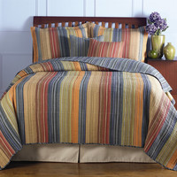 King Size 100-percent Cotton Quilt Set with Brown Orange Red Blue Stripes