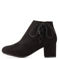 Bamboo Lace-Up Side Ankle Booties