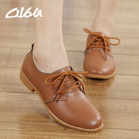 O16U Women oxfords shoes ballerina Flats genuine leather Lace up moccasins Ladies Casual shoes white Black Beige Brown Blue Pink