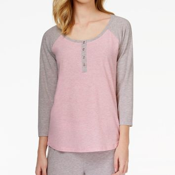 Alfani Raglan Sleeve Henley Pajama Sleep Top 260328 Pink Heather Medium