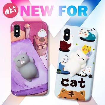 AKI 3D Cat Squishy Phone Case for iPhone 8 Plus 8Plus Case Animal Seal Kitty  Soft TPU Back Cover for iPhone X Case
