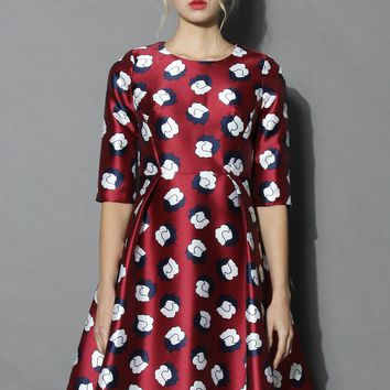 Childlike Floral Printed Dress in Wine