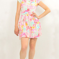 80s Pastel floral Open back boho mini dress