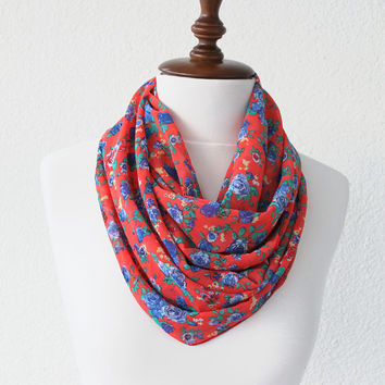 Red Floral Print Infinity Scarf - Loop Scarf - Circle Scarf - Cowl Scarf - Soft and Lightweight
