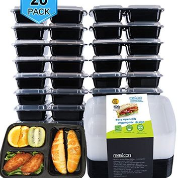 [10 Pack]Meal Prep Containers 3 Compartment-Food Prep Containe with Lids/Bento Lunch Boxes Containers+10 Sporks,Microwave,Dishwasher Safe,BPA Free,Portion Control 21 Day Fix