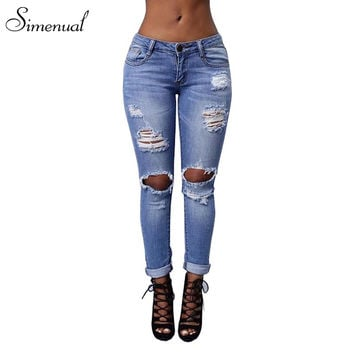 New arrival 2017 vintage ripped jeans for women plus size fashion new slim torn skinny jean ladieswear retro female pants sale