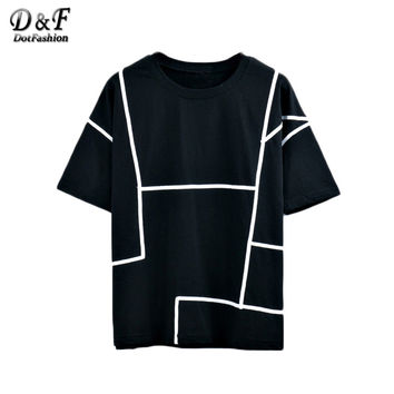 Dotfashion 2016 Black Contrast Binding Tops Summer Loose Tees Round Neck Short Sleeve Casual Wear T-shirt