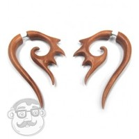 Saba Wood Fake Gauge Talons Tribal Earrings (19G - 0.9mm) | UrbanBodyJewelry.com