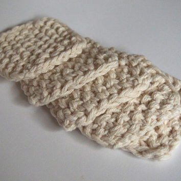 hand knit plushy cotton scrubbies in ecru or linen white