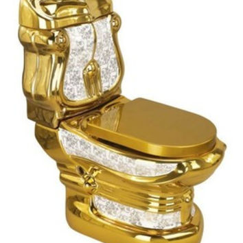 Adopts Colorized Lithography Flower Gold Toilets/Basin Bathroom Gold Plated Ceramic Closestool Luxury Pedestal Sanitary Ware