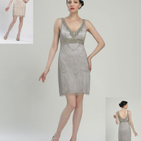 Sue Wong N2103 Beaded Flapper Cocktail Dress