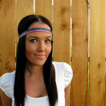 Boho Hippie Chic Patriotic Fourth of July Stars & Stripes Red, White, Blue Headband Woman Accessory Hair Band Fashion Woman Girl Head Wrap