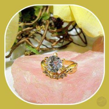 Happiness & Good Fortune White Topaz Ring Size 9