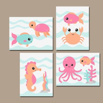 Girl OCEAN Animal Nursery Decor, Girl Sea Animals Wall Art, Canvas or Print, Baby Girl Nautical Nursery Decor, Child Girl Bathroom, Set of 4