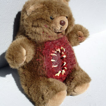 Creepy Horror Zombie Teddy Bear Stuffed Animal Halloween Art Doll Bloody Teeth Gore