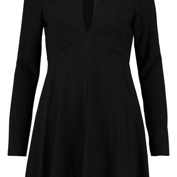 Leather-trimmed crepe mini dress | Halston Heritage | US | THE OUTNET