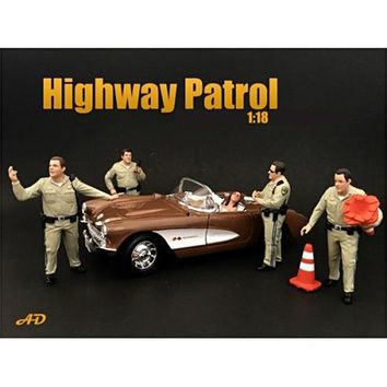 Highway Patrol Officers 4 Piece Figure Set For 1:18 Scale Models by American Diorama