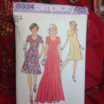 Mod Swirl Dress in 2 Lengths Pattern Simplicity 6334 Uncut- Vintage 1970's