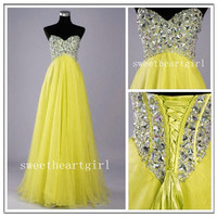 Stunning A-line Sweetheart Sweep Train Prom Dress-yellow
