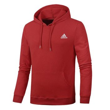ADIDAS autumn and winter trend men's loose sports hoodie Red
