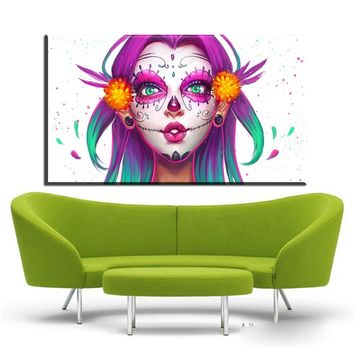 XX3273 Colorful Sugar Skulls Art Decor Canvas Painting Wall Picture , Mexican Skull Poster Gothic Wall Art Canvas Print unframed