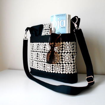 Crossbody Bag, Black and White Bag, Canvas Shoulder Bag, Everyday Crossbody Bag, Black Crossbody bag, Lace Bag
