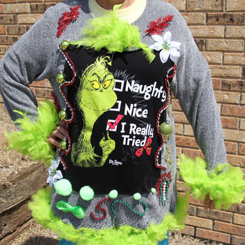 Tacky Ugly SEXY Green Grinch Feather Boa OHLALA Womens Large Sweater
