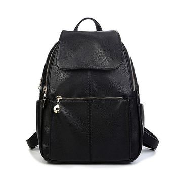 University College Backpack Nice Women Leather s Casual School Bags For Teenage Girls Big Size Lady Travel   Students Black Color BagAT_63_4
