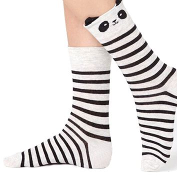 Super Cute Panda Bear and Stripes Patterned Cotton Socks in Grey | DOTOLY