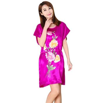 Women Summer Chinese Style Short Sleeve Nightdress Nightgown Bathrobe