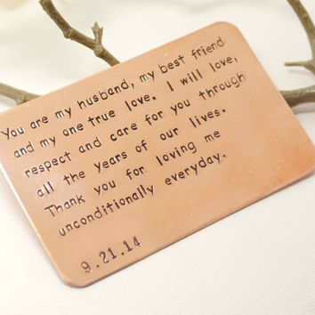 Hand Stamped Wallet Insert Card - Customized personal messages - Gift for husband, boyfriend, father and friends.