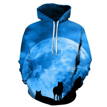 Moon Wolf Hoodies 3D Brand Hoodies Men Sweatshirts Fashion Pullover Casual Tracksuit 5XL Quality Cool Jacket Male Printed Coats