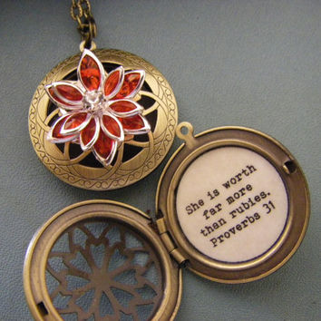 Red Lotus Blossom Antique Brass Locket She is worth more than rubies proverbs 31 locket necklace gift for her