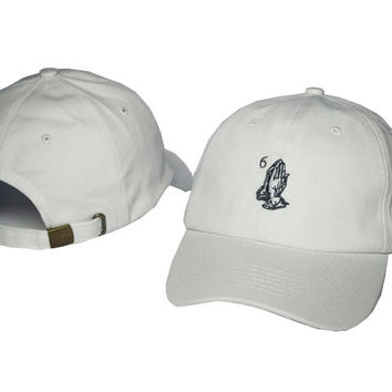 Drake 6 God Praying Hands White Dad Hat