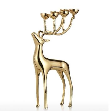Gold Silver Deer Candlestick Metal 6-arms Candelabros Alloy Home Decor