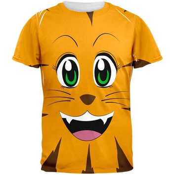 DCCKJY1 Anime Cat Face Neko All Over Adult T-Shirt