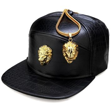 Trendy Winter Jacket NYUK Metal Gold Lion Head Logo PU Leather Baseball Cap Casual Unisex Belt Buckle Hip Hop Rap 5 Panel Sun Snapback Hats Men Women AT_92_12