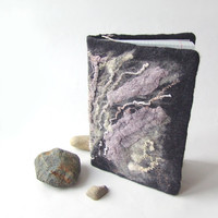 Felted journal notebook cover  Grey stones by galafilc on Etsy