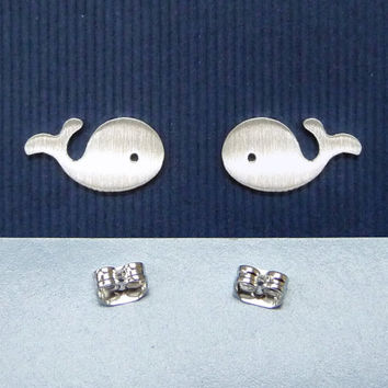 Whale sterling silver ear studs, Whale charm earrings, 925 sterling silver gift