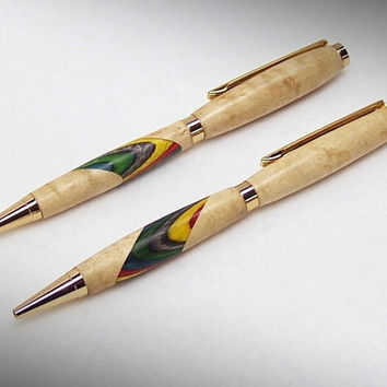 Birds Eye Maple Pen set with Rainbow Birch inlays